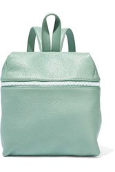 Kara Woman Small Textured Leather Backpack Grey Green