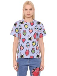 House Of Holland Heart Printed Cotton Jersey T Shirt