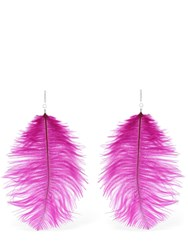 Tuleste Ostrich Feather Statement Earrings Fuchsia