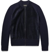 Berluti Suede Panelled Wool And Cashmere Blend Bomber Jacket Midnight Blue