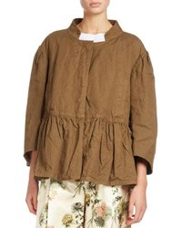Dries Van Noten Vivian Bracelet Sleeve Peplum Jacket Brown