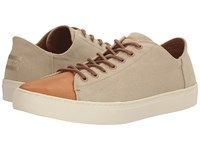 Toms Lenox Sneaker Desert Taupe Washed Canvas Leather Men's Lace Up Casual Shoes Tan