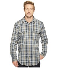 Filson Twin Lakes Sports Shirt Navy White Olive Plaid Men's Clothing Gray