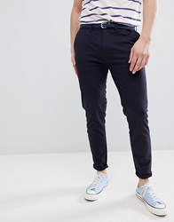 Pull And Bear Pullandbear Skinny Chinos With Belt In Navy