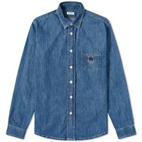 Kenzo Tiger Crest Denim Shirt Blue