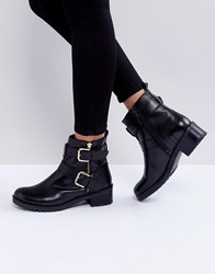 Faith Betsy Leather Biker Boots Black