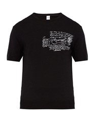 Berluti Scritto Embroidered Wool Jersey T Shirt Black