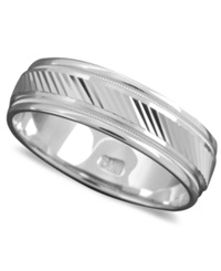 Macy's Men's 14K White Gold Ring Angled Cut Band Size 6 13
