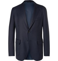 Brioni Blue Water Resistant Wool Twill Blazer Navy
