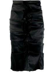 Acne Studios Uneven Horizontal Side Pleats Skirt Black