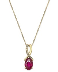 Macy's Ruby 9 10 Ct. T.W. And Diamond Accent Oval Pendant Necklace In 14K Gold