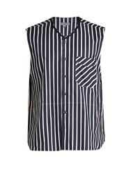 Lanvin Striped Cotton Sleeveless Shirt Blue Multi