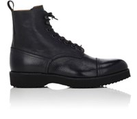 Barneys New York Men's Cap Toe Leather Boots Black