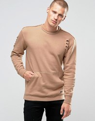 Jack And Jones Sweatshirt With Front Pocket In Distressed Jersey Tigers Eye Tan