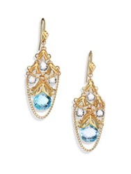 Anthony Camargo Sky Blue Topaz White Topaz And 14K Yellow Gold Draped Cluster Chandelier Earrings