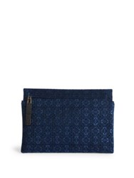 Loewe Logo Embossed Leather Zip Pouch Black Blue