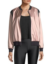Lanston Johnson Sateen Bomber Jacket Pink Gold