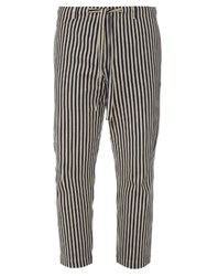 Tomorrowland Drawstring Waist Cotton Pique Striped Trousers Navy Multi