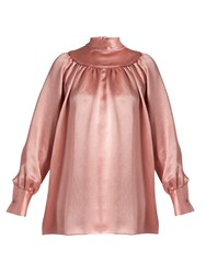 Valentino High Neck Satin Blouse Pink