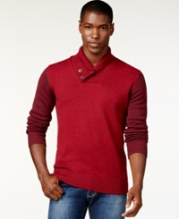 Sean John Colorblocked Twist Shawl Collar Sweater Windsor Wine