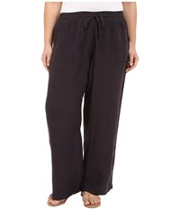 Allen Allen Plus Size Linen Long Pants Jet Grey Women's Casual Pants Gray