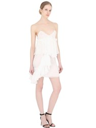 Francesco Scognamiglio Ruffled Sheer Silk Chiffon Mini Dress White