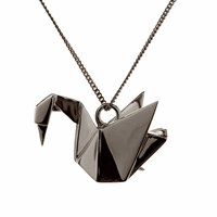 Origami Jewellery Swan Necklace Sterling Silver Gun Metal Black