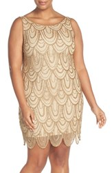 Pisarro Nights Plus Size Women's Beaded Sheath Dress Gold