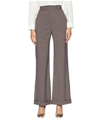 See By Chloe Plaid Wide Leg Trousers Multicolor Blue Casual Pants