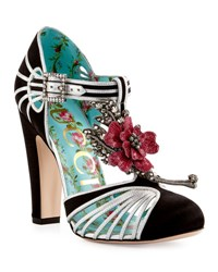 Gucci Mariska Flower T Strap 110Mm Pump Black Silver