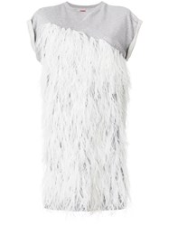 Moncler Gamme Rouge Feather Embellished Dress Grey