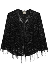 Haute Hippie Embellished Tulle And Faux Leather Jacket Black