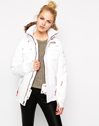The North Face Coat With Faux Fur Trimmed Hood White