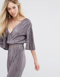 Oh My Love Pleat Batwing Top With Wrap Front Dark Mauve Purple