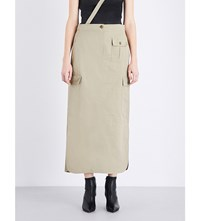 Helmut Lang Strap Detailed Cotton And Silk Blend Cargo Skirt Bamboo