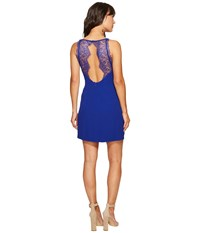 Kensie Texture Crepe Dress With Lace Back Ks6k7993 Dark Sapphire Women's Dress Blue