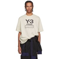 Y 3 Off White Stacked Logo T Shirt