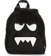 Mini Cream Amgry Face Faux Fur Backpack Black