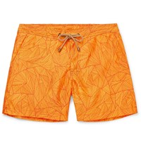 Thorsun Titan Mid Length Printed Swim Shorts Orange