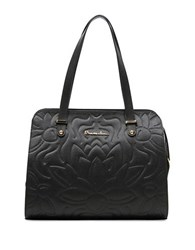 Braccialini Silvia Leather And Suede Shopper Bag Black