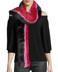 Charlotte Simone Snugglez Faux Fur Striped Scarf Black Red