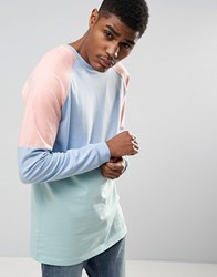 Asos Longline Long Sleeve T Shirt With Pastel Panelling In Heavy Jersey Multi