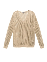 Vince Grid Mesh Open Knit Cotton Sweater