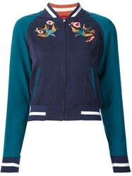 Elizabeth And James Bird Embroidery Bomber Blue