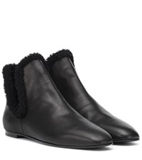 The Row Eros Shearling Lined Ankle Boots Black