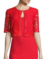 St. John Embroidered Lace Jacket African Red