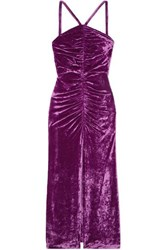 Attico Bow Detailed Ruched Stretch Velvet Maxi Dress Purple