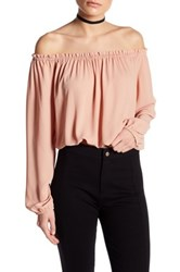 Astr Off The Shoulder Long Sleeve Crop Shirt Pink