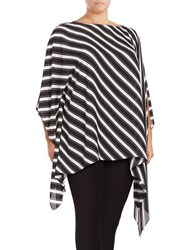 Vince Camuto Plus Striped Boatneck Poncho Black