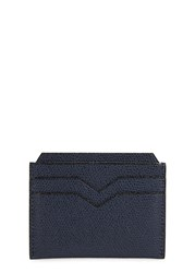Valextra 4Cc Navy Pebbled Leather Card Holder